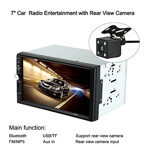 KKmoon Double Din Car Stereo Digital 7 inch HD MP5 Touch Screen Universal 2 Din In-Dash HD Car Radio Entertainment Multimedia Aux Input Player Hands Free Bluetooth Receiver with Rear View Camera/USB p