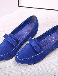 ZQ YYZ Zapatos de mujer-Tac¨®n Plano-Mocas¨ªn / Puntiagudos / Punta Cerrada-Planos-Vestido / Casual-Ante-Negro / Azul / Rosa / Morado , blue-us5 / eu35 / uk3 / cn34 , blue-us5 / eu35 / uk3 / cn34