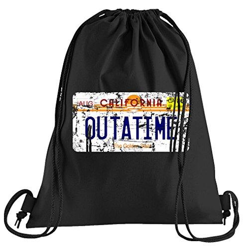 T-Shirt People Outatime License Plate Sportbeutel - Bedruckter Beutel - Eine schöne Sport-Tasche Beutel mit Kordeln Zukunft Flux Delorean DMC -