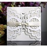 JinSu 20PCs Faire-part de Mariage, Invitation de Mariage avec Feuilles Intérieures, Enveloppes et Ruban pour Marriage, Anniversaire, Fête d'Douche Nuptiale, Célébrations et plus ( Blanc )