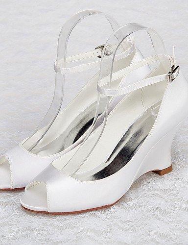 ShangYi Schuh Damen - Hochzeitsschuhe - Absätze / Vorne offener Schuh - Sandalen - Hochzeit / Kleid / Party & Festivität - Weiß 3in