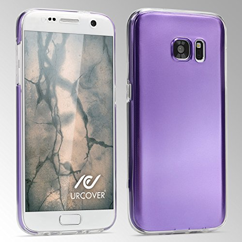 iPhone 7 Coque 360 Degrés, Urcover Étui [Metal Look] Silicone TPU Lilas Housse Tactile Protection Apple iPhone 7 Complète Double Case Lilas