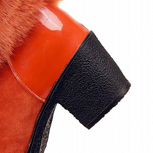 MissSaSa Donna Stivali col Tacco Metà Blocco Elegante e Casual Arancione