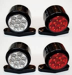 4 X Seite Outline Marker Lights Lampen 24 V Trailer Van Truck Caravan Chassis Wohnmobil Weiß Rot Auto