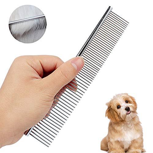 AUBEY Edelstahl Hundekämme, Staubkamm Metall Pflege Kamm für Katzen & Hunde, Stainless Steel Comb Haustier Bürste HundeBürste, Fellkamm feine und grobe Zinken -