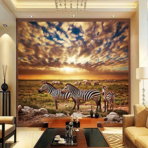 wohnzimmer HD High Definition Afrika Grasland Zebra Leinwand Hintergrundbild Fototapete Wohnzimmer Wohnkultur-350X250CM