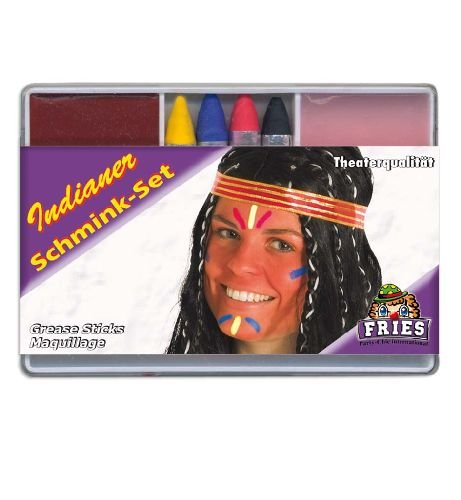 Schminkset Indianer 6tlg. Indianerset Foundation + 4 Schminkstifte + Abschminke Karnevals - Schminke