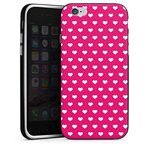 Apple iPhone 6 Housse Étui Silicone Coque Protection Polka c½ur Rose vif Blanc Housse en silicone noir / blanc