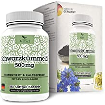 Cápsulas de aceite de Comino Negro 500mg de VITA1 • 180 cápsulas (un mes de