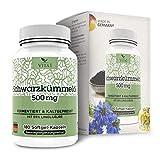 Vita 1 Schwarzkümmelöl 500 mg 180 Kapseln (Monatspackung) Glutenfrei, koscher & halal, 125 g