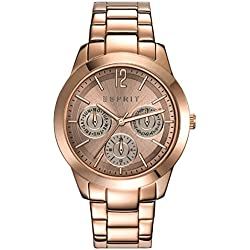 Esprit Angie Women's Quartz Watch with Brown Dial Analogue Display and Rose Gold Stainless Steel Strap ES108422004
