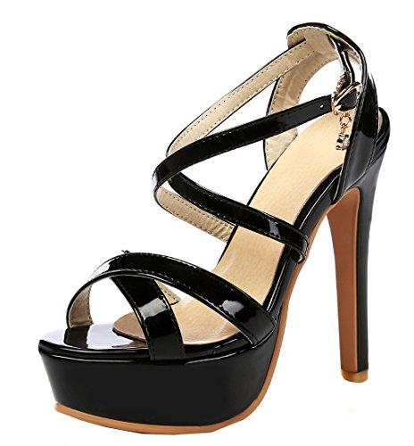 YE Damen Peep Toe High Heel 13cm Heels Plateau Stiletto Lack Leder Knöchelriemen Pumps Mit Schnalle Sommer Fashion Elegante Party Sandalen Schuhe Schwarz