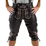 Almbock Lederhose Kniebund schwarz | Herren Lederhose Tracht mit fescher Stickerei | Trachtenlederhose Nappa | Herren Lederhosen - Trachtenhose 56