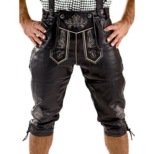 Almbock Lederhose Herren Tracht Kniebund - Lederhose Herren schwarz lang mit fescher Stickerei - Lederhose Nappa - Trachten Lederhose - Lederhose XL