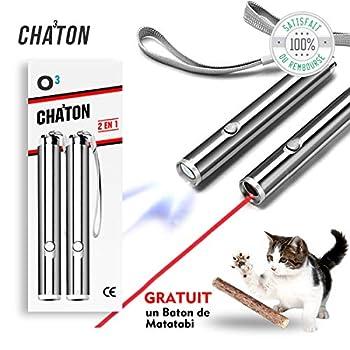 O³ Jouet interactif Chat - 2 Pointeur lumineux + 1 bâton d'Herbe à Chat Matatabi Cadeau - Lampe Led 2 en 1 - Exercices pour chat