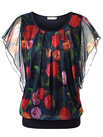 BAISHENGGT Women's Floral Print Ruched Front Round Neck Flounced Sleeve Top Blue X-Large