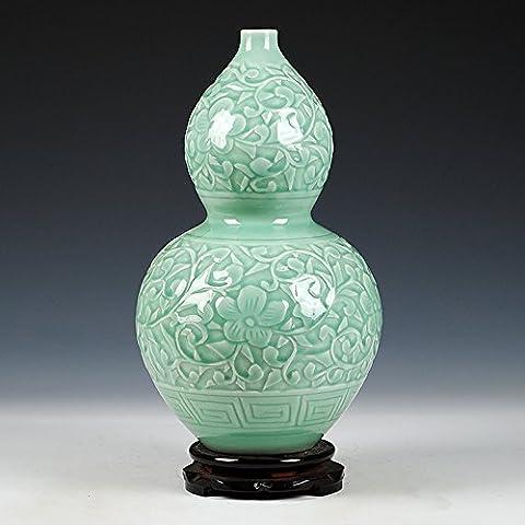 Loopsd Porcellana Hand-Carved antichi pellicola goffrata smalto Verde zucca vaso