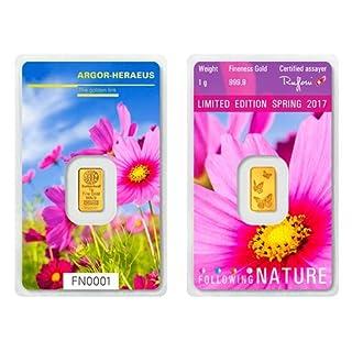 1g Argor Heraeus Goldbarren 1 Gramm 9999 mit Zertifikat Frühling Following Nature Spring