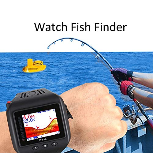 H&L Sonar Fish Finder Wireless Watch Type Waterproof 180Fe-60M Range Portable Echo Fishing Sounder Transducer Detector Fish icon -