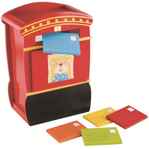 ELC WOODEN POST BOX WITH 5 COLOURED LETTERS FOR AGES 12 MONTHS+