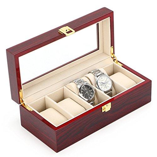 MDF Holz Uhr Box für 5Uhren mit Glas-Farbe rot sehen Storage Box mit Schloss (blau)