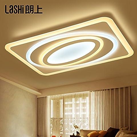 lemumu Salon LED lumière plafond rectangulaire restaurant atmosphère minimaliste lumière à la lumière de l'étude,80*56 longue partie bi couleur pas de polarité 84W éclairage