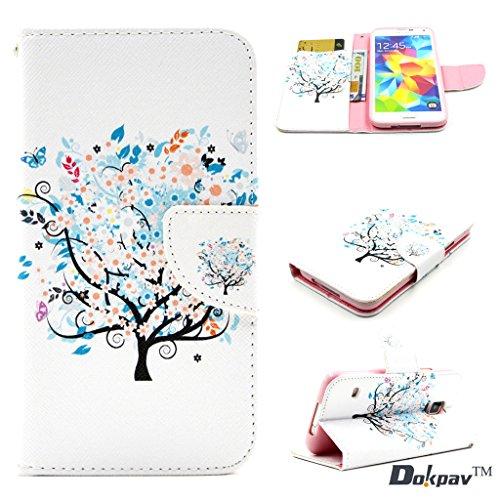 Dokpav®SAMSUNG Galaxy S5 mini Custodia,Ultra Sottile Cassa Di Cuoio Della Copertura Di Vibrazione Per SAMSUNG Galaxy S5 Mini Con Tasche Interne Per Carte Di Slittamento(alberi fantastici)