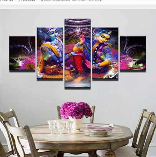 Indische Leinwand Kunst (wangyubing Leinwanddrucke Wandbild Gedruckt Malerei Modulare Poster 5 Panel LeinwandKunst Indische Für Wohnzimmer Dekoration Kunstwerk(Rahmen))
