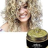 UrbanX Lavable Coloración Del Cabello Material De Cera Unisex Color Tinte Estilo Crema Peinado Natural Pomada Fiesta Temporal Cosplay Ingredientes Naturales (Dorado)