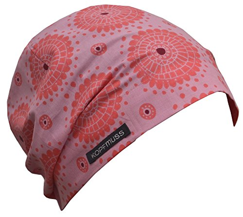 Kopfmuss - Damen Leichte Sommermütze KoS1129 - M, Pusteblume rosa/pfirsich