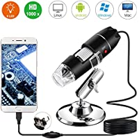 USB Microscopio Digitale, Bysameyee Handheld 40X-1000X Ingrandimento Endoscopio, 8 LED Mini Videocamera con Adattatore OTG e Metallo Supportoper Windows 7/8/10 Mac Linux Android (con OTG)