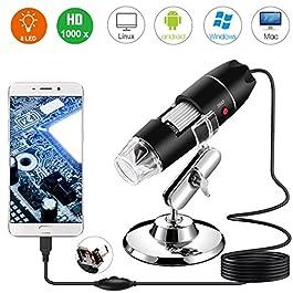 Bysameyee Microscopio Digitale, USB 2.0 Microscopio 40-1000X Ingrandimento con 8 LED, Mini Endoscopio Fotocamera con…