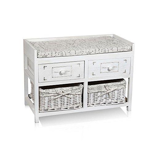Melko Sitzbank-Kommode mit 2 Körben + 2 Schubladen weiß Landhaus Stil + Kissen - Kleine Sitzbank Kissen