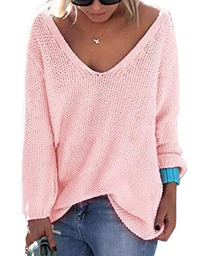YOINS Strickpullover Damen Pullover Winter V Ausschnitt Sexy Oberteil Damen Oberteile Elegant Rosa EU40-42 -
