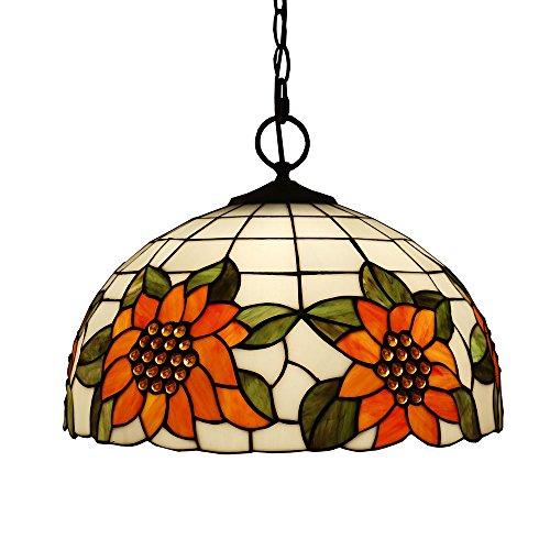 Tiffany Style Pendelleuchten, ZYF Beleuchtung Titania Antik Und Jeweled Uplighter Sunflower Design Deckenleuchte Anhänger Glasmalerei Schatten, 30 * 40Cm -