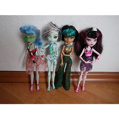 Monster High–5unidades–incluye 3muñecas Costas de calavera.–Ghoulia Yelps, Frankie Stein, Cleo de Nilo, Clawdeen Wolf & Draculaura–X4489