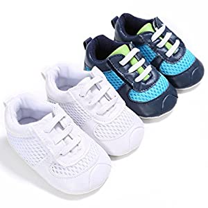 VENMO New Born Baby Boy Girl Grid Lacing Shoes Breathable Walker Sneaker 0~12 Month