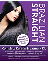 Brazilian Straight, Keratin Home Use Treatment Kit, Salon Quality Hair Straightening / Blow Dry / Smoothing, 100ml, Great Gift / Present