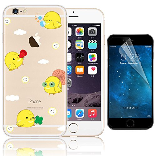 iPhone 6 Plus Case (5.5 pollice), Bonice iPhone 6S Plus Cover,Bonice Colorato Ultra Thin Morbido TPU Silicone Rubber Clear Trasparente Back Creativo Case –pulcino 02 model 14