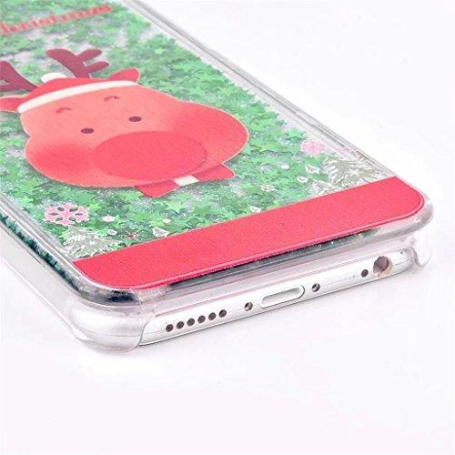 iphone 7 Hülle, iphone 8 Schutzhülle, Retro Weihnachtsmann und Glitzer Mode Kreatives Design Fließende 3D Sternen schwimmt für iphone 7 iphone 8 (4,7 Zoll), E-lush Ultra Dünn Transparent TPU+PU Weich  Weihnachtsschwein