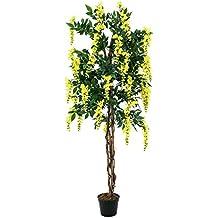 artplants arbuste artificiel glycine 2020 feuilles vritable tronc 1000 fleurs jaune - Arbuste Artificiel Exterieur Pas Cher