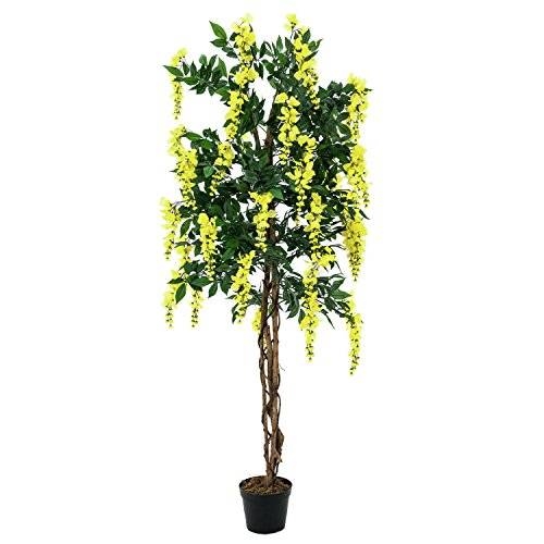 artplants Set 2 x Künstlicher Goldregenbaum, 2020 Blätter, Echtstamm, 1000 Blüten, gelb, 180 cm – Künstliche Pflanze/Deko Blumen