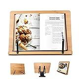 Porta libri - leggio da tavolo Pieghevole (33.5 x 24cm) con 6 Altezze regolabile - leggio in bambù per Libri, Annotazioni Musica,Ricetta tavololettura, guardare video,iPad
