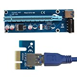 PCIe PCI-E PCI Express Riser Card 1x to 16x USB 3.0 Data Cable SATA to 4Pin IDE BY ACUTAS (2-Qty)