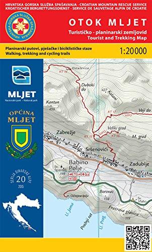 nr 20 Otok Mljet île carte de randonnée 1:20.000 Croatie Croatia