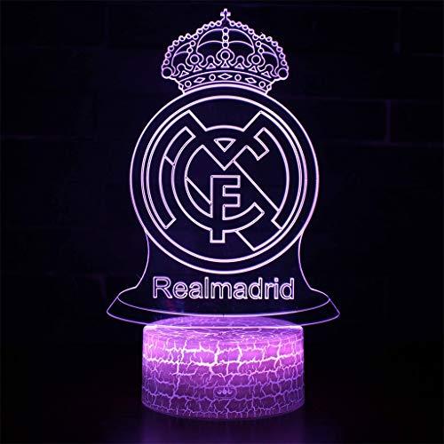 Real Madrid Football Club 3D Folien/LED-Nachtlichter, 7 Farbvariationen, Rissbasis, Touch/Fernbedienung, Kindergeschenke, Beleuchtung Tisch Schreibtisch Schlafzimmer Dekor -
