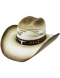 Modestone Traditional Rodeo Straw Cowboy Hat Bull Head   Studs Hatband Beige f498b5ffc334