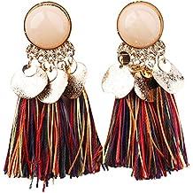 Qiao Nai (TM) Paire Femme Boucles Oreille Frange Bohème Paillette Frange Longue Bijoux Dangle Fantaisie Ethnique