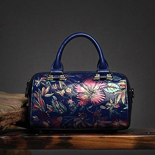 Leathario borsa di vera pelle da Donna a mano a tracolla borsa in stile classico borsa vintage borsa estiva stile cinese borsa elegante blu