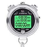 LAOPAO Cronometro, 100 Memoria 1/1000 Secondi Precision con Funzione Luce e Muto Cronografo Timer per Palestra Pallacanestro Calcio Baseball Sport Outdoor